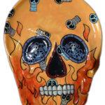 Skull And Flames Skull Platter
