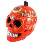 Large Crimson Skull Cookie Jar